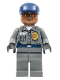 Minifig No: spd029  Name: Security Guard, Dark Bluish Gray Shirt w/Badge and Radio, Dark Bluish Gray Legs