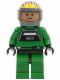 Minifig No: sw0031a  Name: Rebel Pilot A-wing - Light Nougat Head, Trans-Black Visor, Green Flight Suit