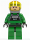 Minifig No: sw0031b  Name: Rebel Pilot A-wing - Light Nougat Head, Trans-Yellow Visor, Green Flight Suit