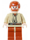 Minifig No: sw0152  Name: Obi-Wan Kenobi - Light Nougat, Dark Orange Hair and Legs, Gold Headset