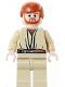 Minifig No: sw0162  Name: Obi-Wan Kenobi - Light Nougat, Dark Orange Hair, Tan Legs, Gold Headset