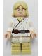 Minifig No: sw0273  Name: Luke Skywalker - Light Nougat, Long Hair, White Tunic, Tan Legs, White Glints