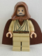 Minifig No: sw0336  Name: Obi-Wan Kenobi - Old, Light Nougat, Reddish Brown Hood and Cape, White Glints