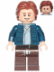 Minifig No: sw1021  Name: Han Solo, Dark Brown Legs with Holster Pattern, Dark Blue Jacket, Wavy Hair, Smile / Frown