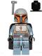 Minifig No: sw1077  Name: Mandalorian Tribe Warrior - Female, Black Cape, Light Bluish Gray Helmet with Antenna / Rangefinder