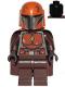 Minifig No: sw1079  Name: Mandalorian Tribe Warrior - Male, Dark Brown Cape, Dark Orange Helmet