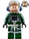 Minifig No: sw1092  Name: Rebel Pilot A-wing (Open Helmet, Dark Green Jumpsuit, Smile / Scared) (Arvel Crynyd)