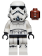 Minifig No: sw1167  Name: Stormtrooper - Male (Dual Molded Helmet, Gray Squares on Back, Grimacing, Reddish Brown Head)
