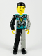Minifig No: tech001  Name: Technic Figure Black/Light Gray Legs, Dark Turquoise Torso with Yellow, Black, Silver Pattern, Light Gray Mechanical Left Arm