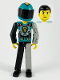 Minifig No: tech001a  Name: Technic Figure Black/Light Gray Legs, Dark Turquoise Torso with Yellow, Black, Silver Pattern, Light Gray Mechanical Left Arm, Printed Helmet