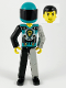 Minifig No: tech001b  Name: Technic Figure Black/Light Gray Legs, Dark Turquoise Torso with Yellow, Black, Silver Pattern, Light Gray Mechanical Left Arm, Dark Turquoise Helmet