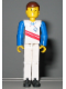 Minifig No: tech003  Name: Technic Figure White Legs, White Top with Red Stripes Pattern, Blue Arms (Skier)