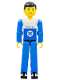 Minifig No: tech005  Name: Technic Figure Blue Legs, White Top with Blue Technic Logo, Blue Arms