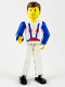 Minifig No: tech006  Name: Technic Figure White Legs, White Top with Blue Suspenders Pattern, Blue Arms