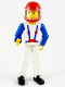 Minifig No: tech006a  Name: Technic Figure White Legs, White Top with Blue Suspenders Pattern, Blue Arms, Red Helmet