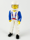 Minifig No: tech006b  Name: Technic Figure White Legs, White Top with Blue Suspenders Pattern, Blue Arms, White Helmet