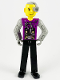Minifig No: tech007  Name: Technic Figure Cyber Person, Black Legs, Mechanical Arms, Yellow Head, Cyborg Eyepiece