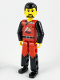 Minifig No: tech008  Name: Technic Figure Red/Black Legs, Red Top, Black Hair (Fireman)