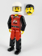 Minifig No: tech008a  Name: Technic Figure Red/Black Legs, Red Top, Black Hair (Fireman), White Helmet
