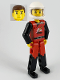 Minifig No: tech009a  Name: Technic Figure Red/Black Legs, Red Top, Brown Hair (Fireman), White Helmet