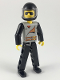 Minifig No: tech012a  Name: Technic Figure Black Legs, Light Gray Top with 2 Brown Belts, Black Arms, Black Helmet