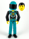 Minifig No: tech013a  Name: Technic Figure Dark Turquoise Legs, Dark Turquoise Torso with Yellow, Black, Silver Pattern, Black Arms, Dark Turquoise Helmet, Black Visor