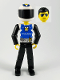Minifig No: tech019a  Name: Technic Figure Black Legs, White Top with Police Logo, Black Arms, White Helmet, Black Visor