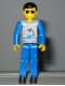 Minifig No: tech021  Name: Technic Figure Blue Legs, Light Gray Top with Fish Pattern, Blue Arms
