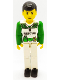 Minifig No: tech022  Name: Technic Figure White Legs with Knife (sticker) on Right Leg, White Top with White and Green Torso with Rescue Pattern, Green Arms