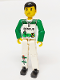 Minifig No: tech022s  Name: Technic Figure White Legs with Knife (sticker) on Right Leg, White Top with White and Green Torso with Rescue Pattern, Green Arms