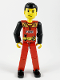 Minifig No: tech023  Name: Technic Figure Red Legs, Red Top with Black 'FIRE', Black Arms (Fireman)