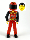 Minifig No: tech023a  Name: Technic Figure Red Legs, Red Top with Black 'FIRE', Black Arms (Fireman), Red Helmet with Flame, Black Visor - without Sticker