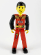 Minifig No: tech023s  Name: Technic Figure Red Legs, Red Top with Fire and Axe Pattern (Sticker), Black Arms (Fireman)