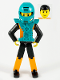 Minifig No: tech027a  Name: Technic Figure Orange/Black Legs, Orange Torso with Silver Pattern, Black Arms, Black Hair, Dark Turquoise Helmet and Armor