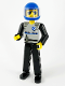 Minifig No: tech029a  Name: Technic Figure Black Legs, Light Gray Top with Police Pattern, Black Arms, Blue Helmet