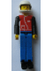 Minifig No: tech031a  Name: Technic Figure Blue Legs, Red Top with Zipper, Black Arms, Black Hair, White Helmet