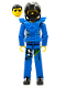 Minifig No: tech033as  Name: Technic Figure Blue Legs, Blue Top with Chest Plate, Black Hair, Black Helmet - with Stickers