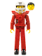 Minifig No: tech034a  Name: Technic Figure Red Legs, Red Top with Chest Plate, Black Hair, White Helmet - without Stickers
