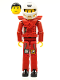 Minifig No: tech034as  Name: Technic Figure Red Legs, Red Top with Chest Plate, Black Hair, White Helmet - with Stickers