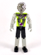 Minifig No: tech035  Name: Technic Figure Cyber Person, Black Legs, Lime Torso, Mechanical Arms, Dark Gray Head, Cyborg Eyepiece