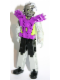 Minifig No: tech035a  Name: Technic Figure Cyber Person, Black Legs, Purple Armor, Mechanical Arms, Dark Gray Head, Cyborg Eyepiece