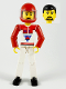Minifig No: tech036a  Name: Technic Figure White Legs, White Top with Red Vest, Red Arms, Black Hair, Red Helmet