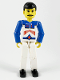 Minifig No: tech037  Name: Technic Figure White Legs, White Top with Red Arrow-Type Stripes Pattern, Blue Arms