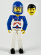 Minifig No: tech037a  Name: Technic Figure White Legs, White Top with Red Arrow-Type Stripes Pattern, Blue Arms, Blue Helmet
