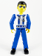 Minifig No: tech038  Name: Technic Figure Blue Legs, White Top with Zipper & Shoulder Harness Pattern, Blue Arms