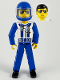 Minifig No: tech038a  Name: Technic Figure Blue Legs, White Top with Zipper & Shoulder Harness Pattern, Blue Arms, Blue Helmet