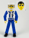 Minifig No: tech038b  Name: Technic Figure Blue Legs, White Top with Zipper & Shoulder Harness Pattern, Blue Arms, White Helmet