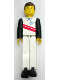 Minifig No: tech039  Name: Technic Figure White Legs, White Top with Red Stripes Pattern, Black Arms (Skier)