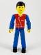 Minifig No: tech040  Name: Technic Figure Blue Legs, Red Top with Zipper, Blue Arms, Black Hair