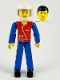 Minifig No: tech040a  Name: Technic Figure Blue Legs, Red Top with Zipper, Blue Arms, Black Hair, White Helmet